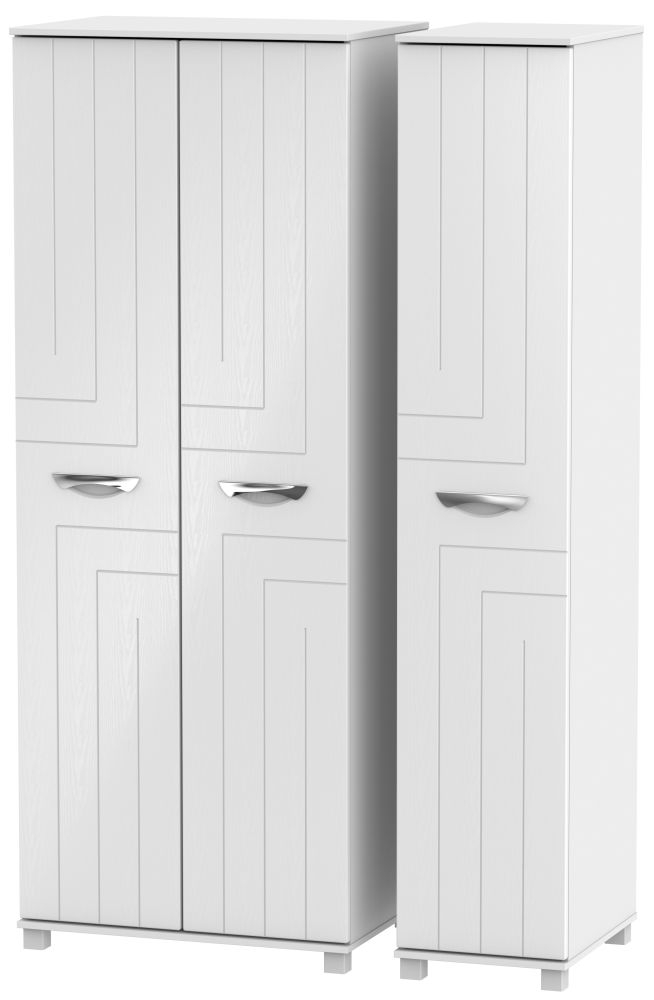 Somerset White Klein Triple Wardrobe - Tall Plain