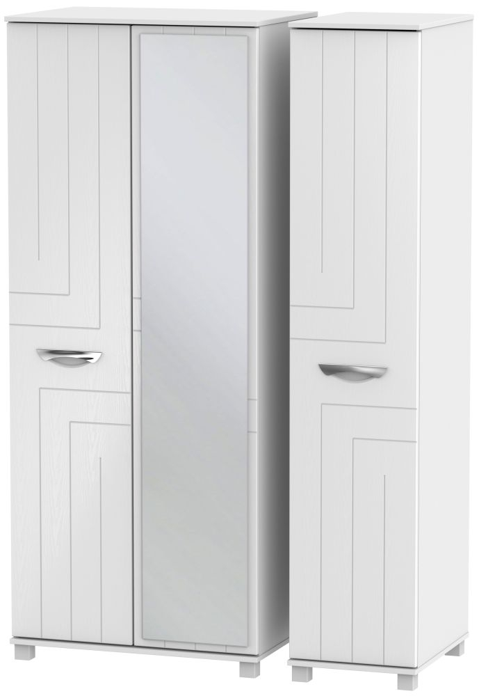 Somerset White Klein Triple Wardrobe with Mirror