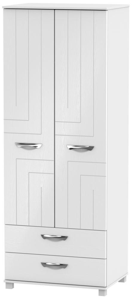 Somerset White Klein 2 Door 2 Drawer Tall Double Wardrobe