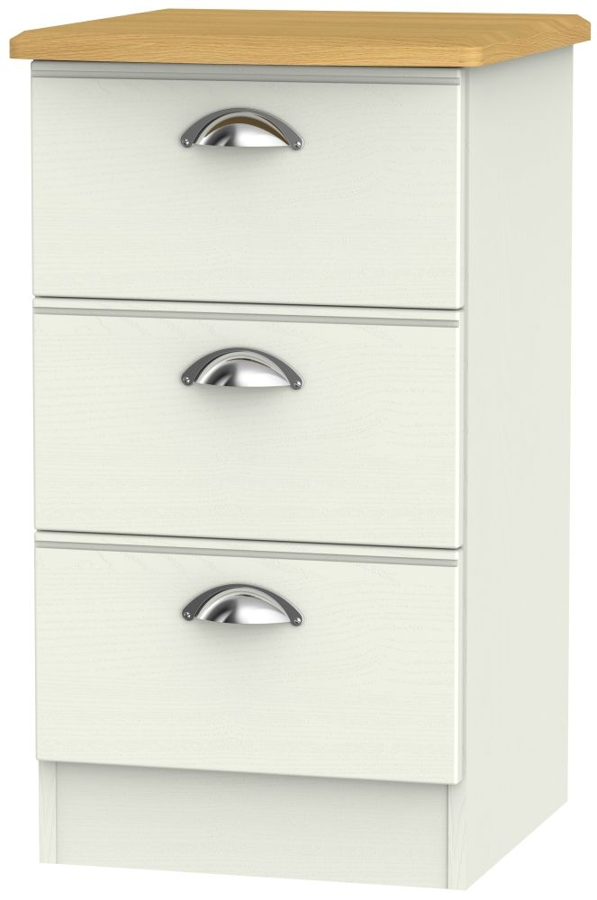 Victoria 3 Drawer Bedside Cabinet - Cream Ash and Modern Oak