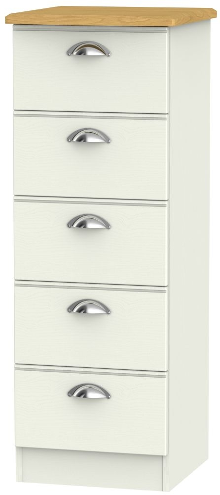 Victoria Cream Ash and Modern Oak 5 Drawer Locker Chest