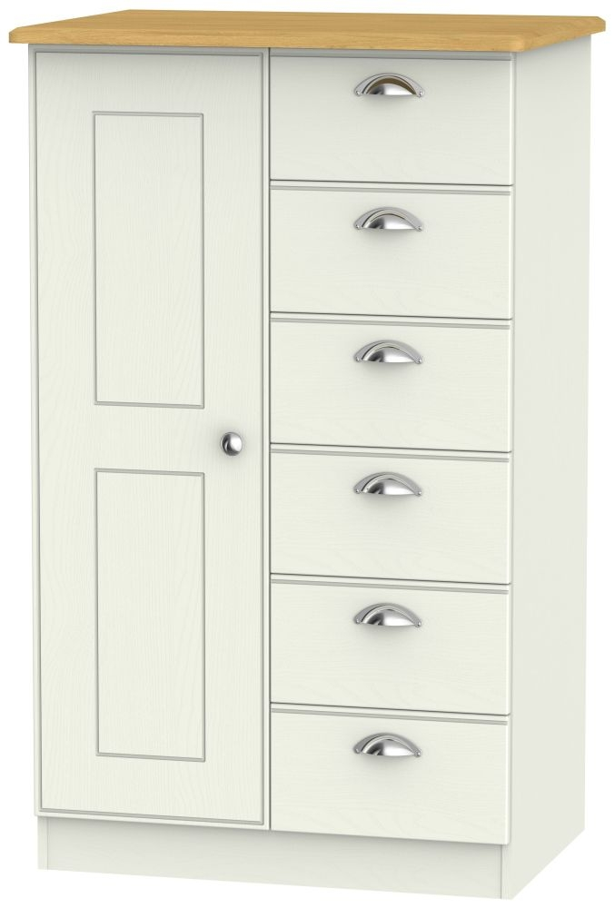 Victoria Cream Ash and Modern Oak 1 Door 6 Drawer Children Wardrobe