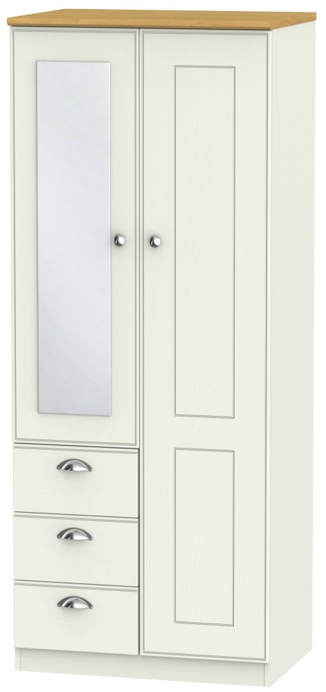 Victoria Cream Ash and Modern Oak Combination Wardrobe - 2ft 6in