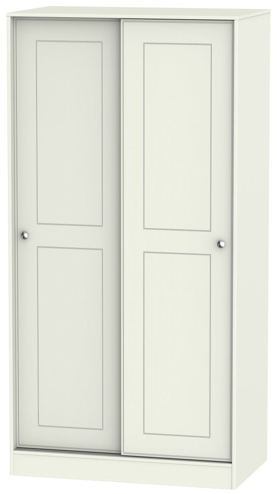 Victoria Cream Ash and Modern Oak Sliding Wardrobe - 100cm Wide