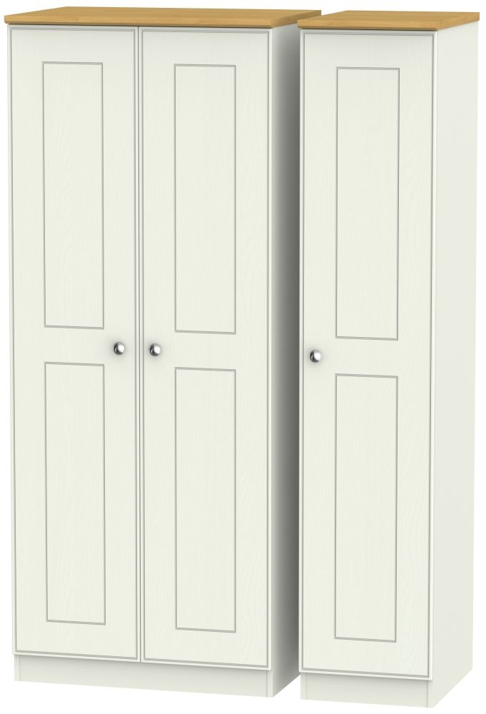 Victoria 3 Door Wardrobe - Cream Ash and Modern Oak