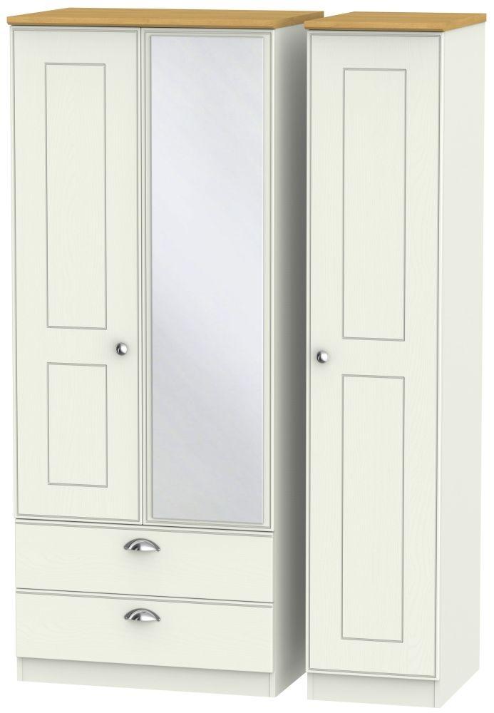 Victoria 3 Door 2 Left Drawer Combi Wardrobe - Cream Ash and Modern Oak