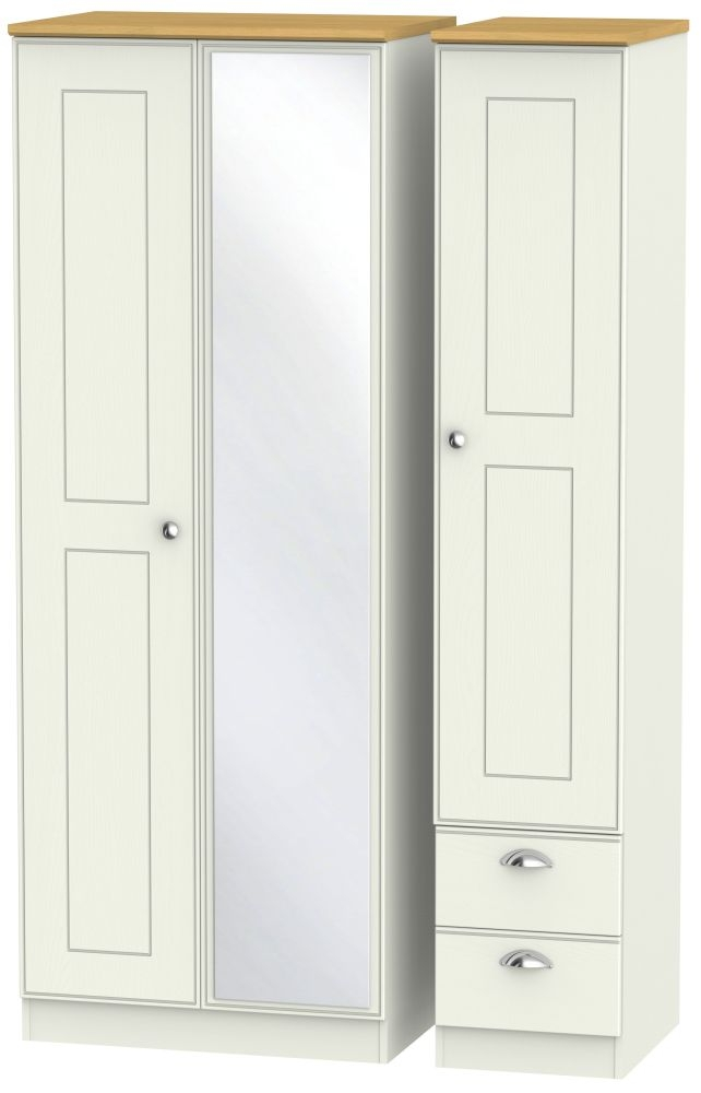Victoria 3 Door 2 Right Drawer Tall Combi Wardrobe - Cream Ash and Modern Oak