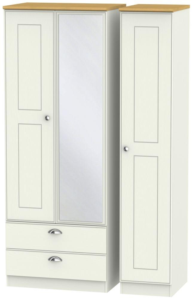 Victoria 3 Door 2 Left Drawer Tall Combi Wardrobe - Cream Ash and Modern Oak