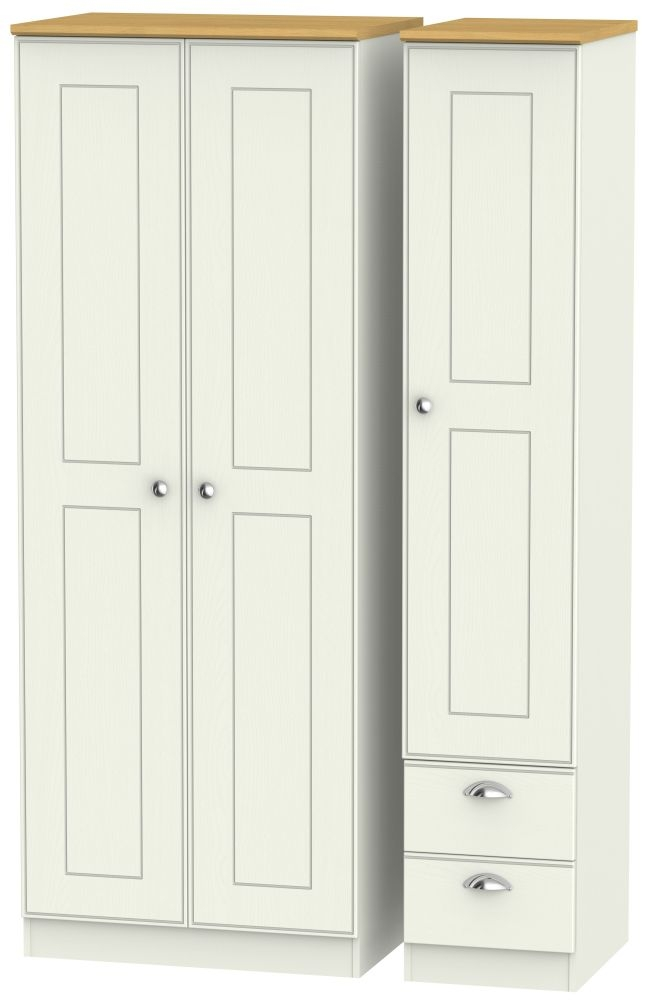 Victoria 3 Door 2 Right Drawer Tall Wardrobe - Cream Ash and Modern Oak