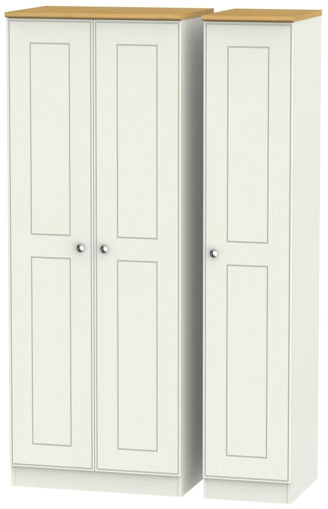 Victoria Cream Ash and Modern Oak 3 Door Tall Plain Triple Wardrobe