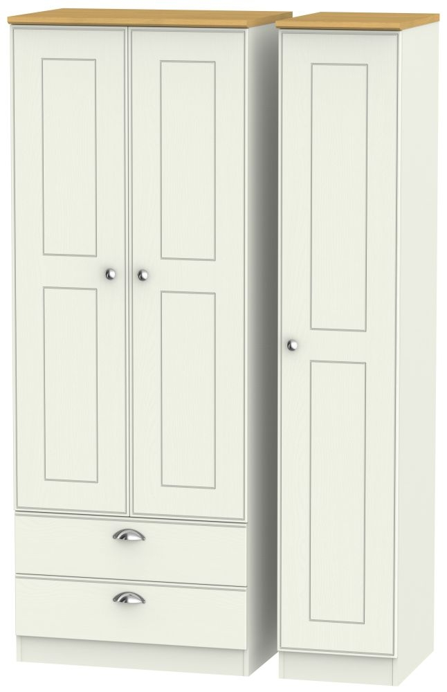 Victoria 3 Door 2 Left Drawer Tall Wardrobe - Cream Ash and Modern Oak