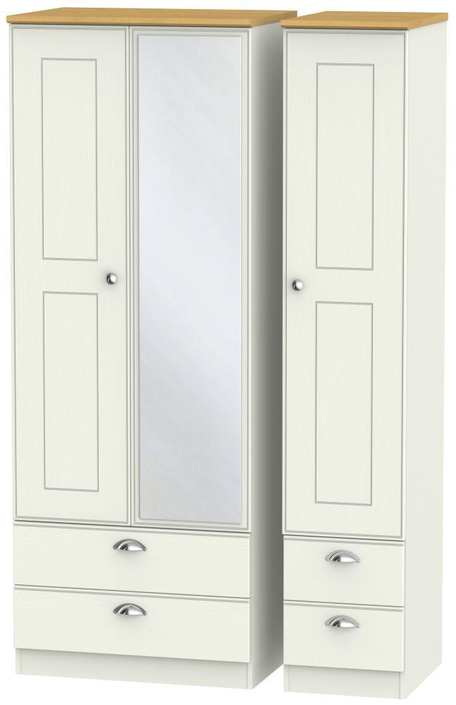 Victoria 3 Door 4 Drawer Tall Combi Wardrobe - Cream Ash and Modern Oak