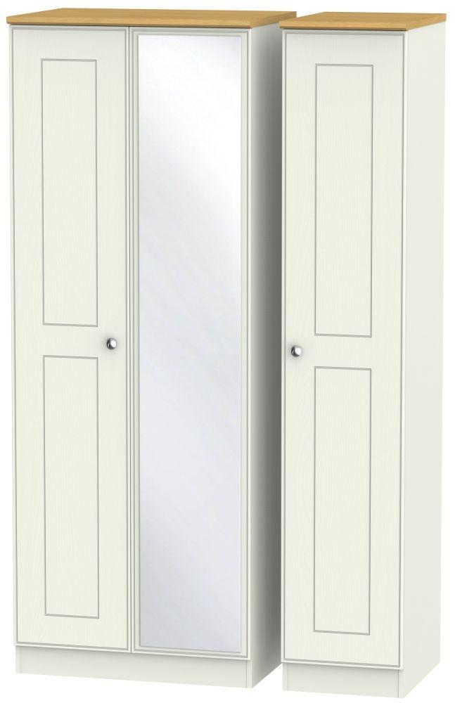 Victoria 3 Door Tall Mirror Wardrobe - Cream Ash and Modern Oak