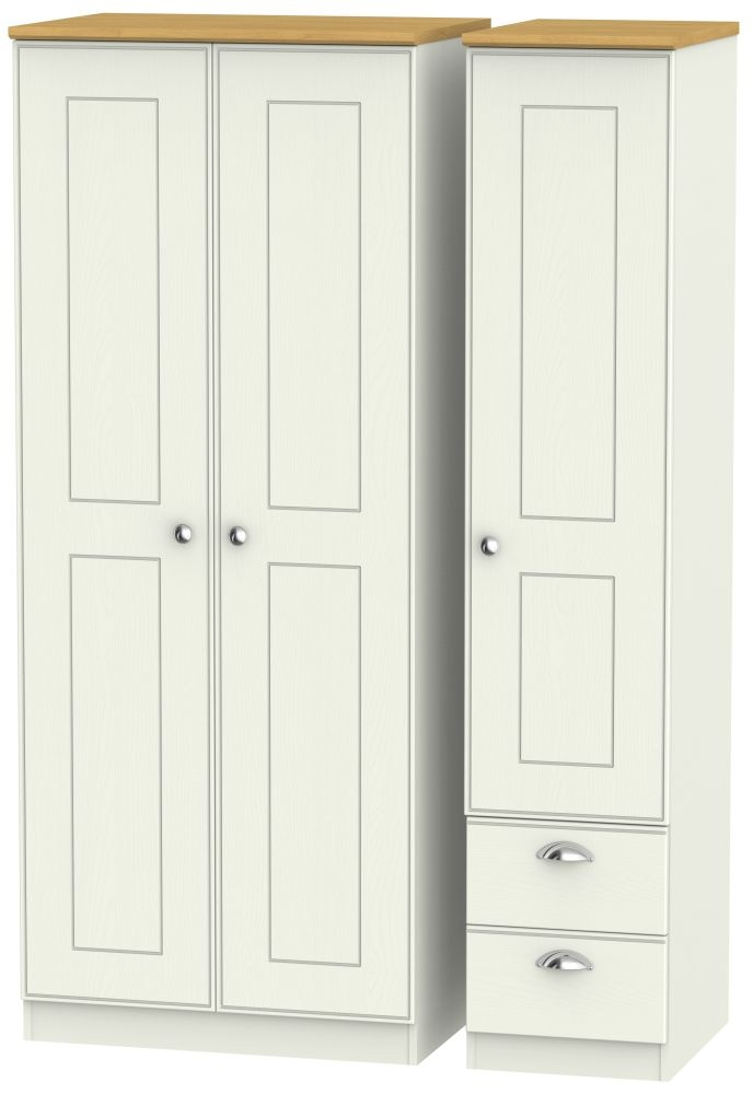 Victoria 3 Door 2 Right Drawer Wardrobe - Cream Ash and Modern Oak