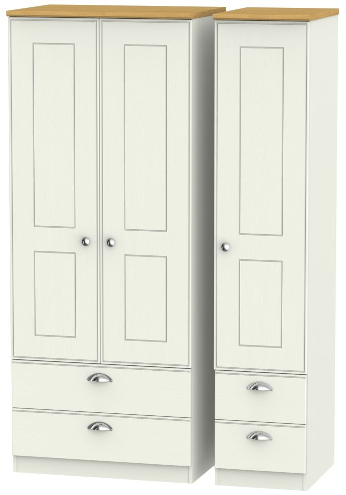 Victoria 3 Door 4 Drawer Wardrobe - Cream Ash and Modern Oak