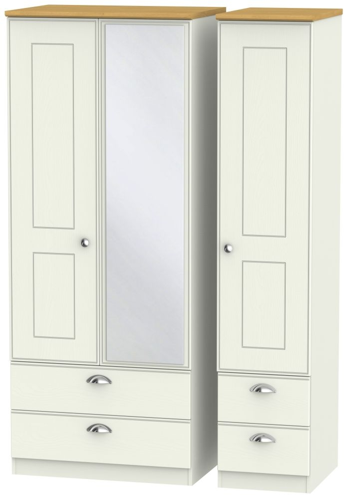 Victoria 3 Door 4 Drawer Combi Wardrobe - Cream Ash and Modern Oak