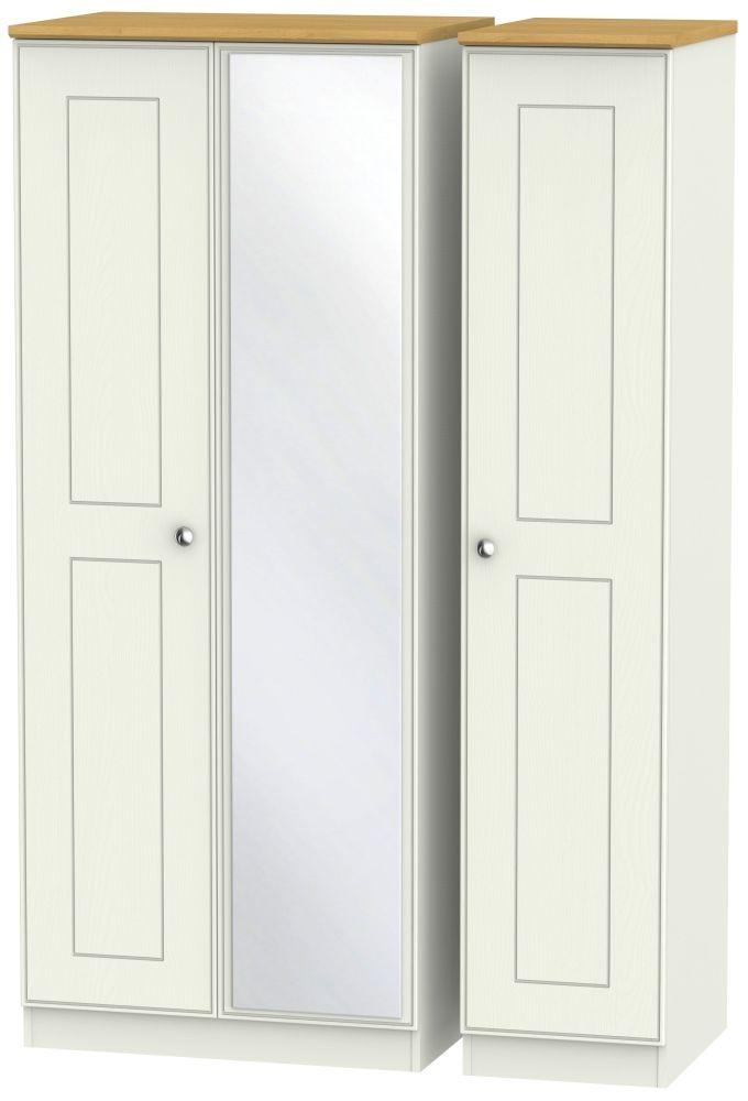 Victoria 3 Door Mirror Wardrobe - Cream Ash and Modern Oak