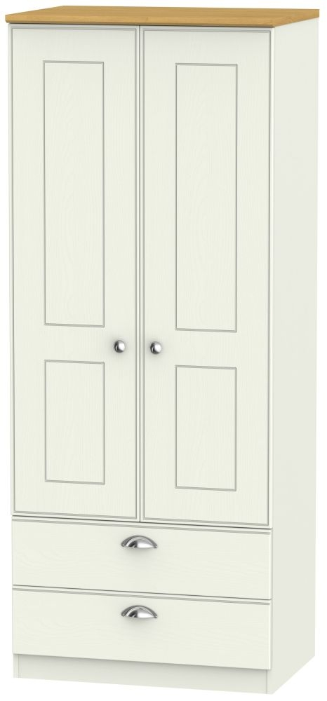 Victoria Cream Ash and Modern Oak 2 Door 2 Drawer Wardrobe
