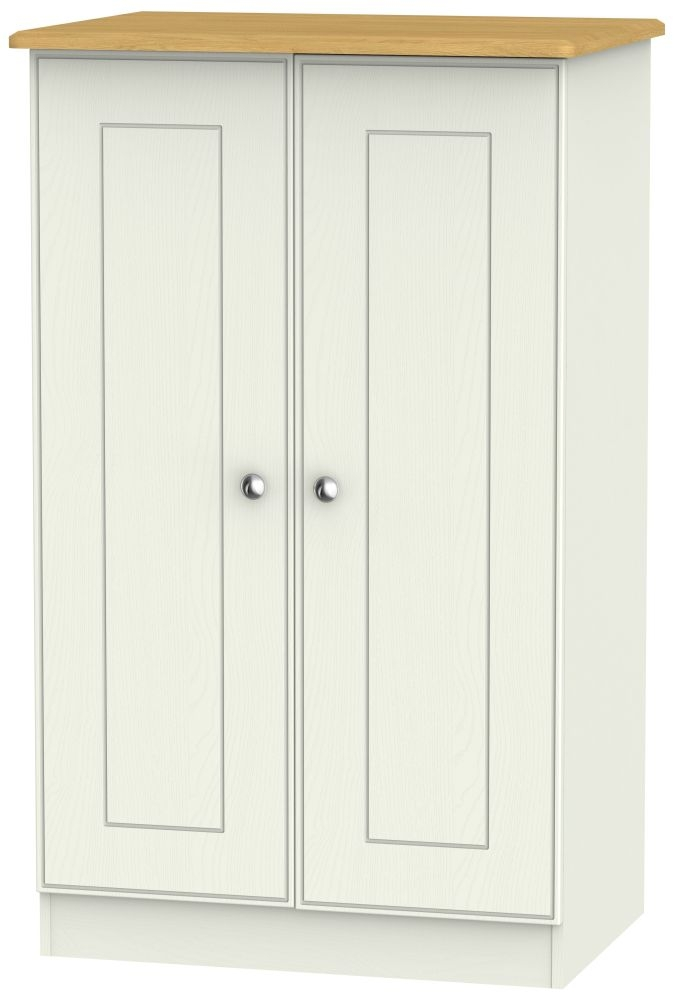 Victoria 2 Door Midi Wardrobe - Cream Ash and Modern Oak