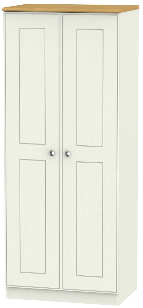 Victoria Cream Ash and Modern Oak Wardrobe - 2ft 6in Plain