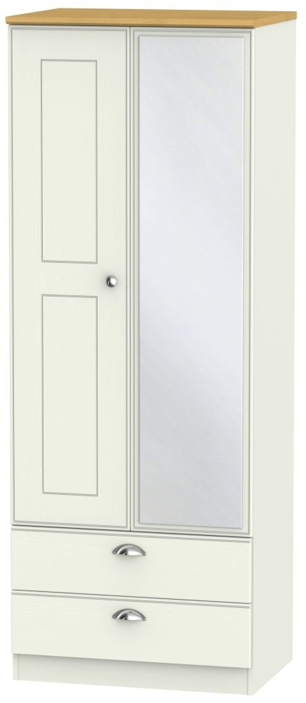 Victoria 2 Door Tall Combi Wardrobe - Cream Ash and Modern Oak