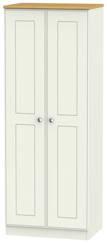 Victoria 2 Door Tall Hanging Wardrobe - Cream Ash and Modern Oak