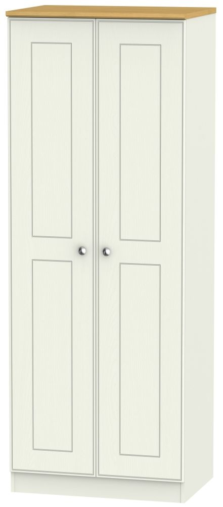 Victoria Cream Ash and Modern Oak 2 Door Tall Plain Double Wardrobe