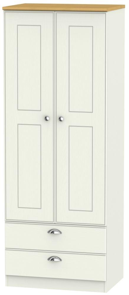 Victoria 2 Door 2 Drawer Tall Wardrobe - Cream Ash and Modern Oak