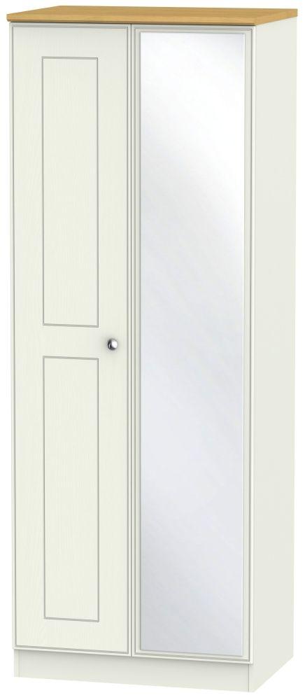 Victoria 2 Door Tall Mirror Wardrobe - Cream Ash and Modern Oak