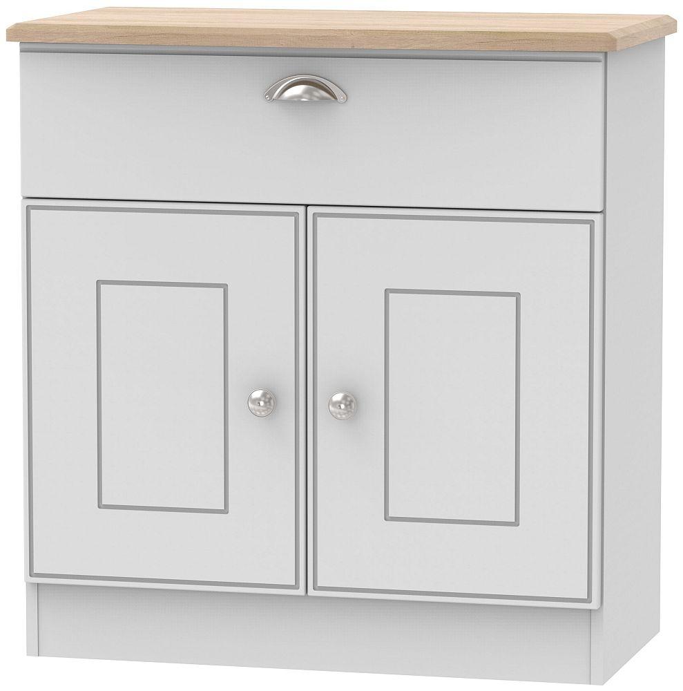 Victoria 2 Door 1 Drawer Narrow Sideboard - Grey and Riviera Oak