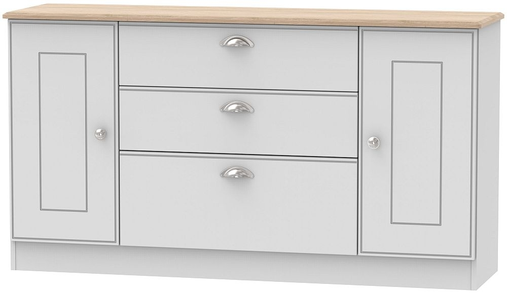 Victoria 2 Door 3 Drawer Wide Sideboard - Grey and Riviera Oak