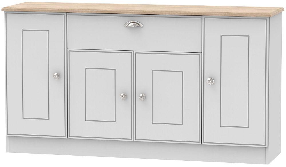 Victoria 4 Door 1 Drawer Wide Sideboard - Grey and Riviera Oak