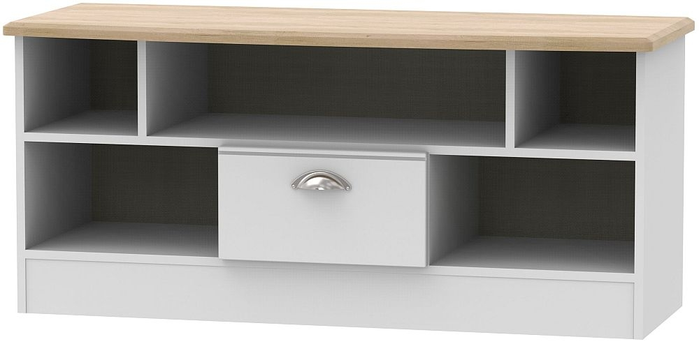 Victoria Open TV Unit - Grey and Riviera Oak