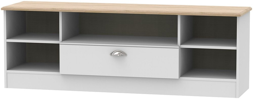 Victoria Wide Open TV Unit - Grey and Riviera Oak