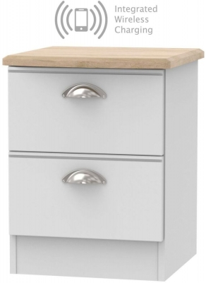 Victoria 2 Drawer Bedside Cabinet with Integrated Wireless Charging - Grey Matt and Riviera Oak
