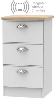Victoria 3 Drawer Bedside Cabinet with Integrated Wireless Charging - Grey Matt and Riviera Oak