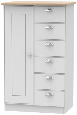 Victoria 1 Door Childern Wardrobe - Grey Matt and Riviera Oak