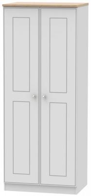 Victoria Grey Matt and Riviera Oak 2 Door Plain Wardrobe