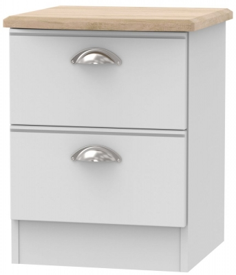 Victoria Grey Matt and Riviera Oak 2 Drawer Locker Bedside Cabinet