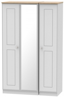 Victoria Grey Matt and Riviera Oak 3 Door Mirror Triple Wardrobe