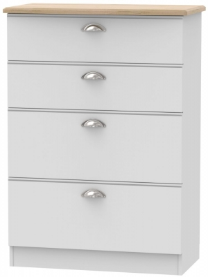 Victoria 4 Drawer Deep Chest - Grey Matt and Riviera Oak
