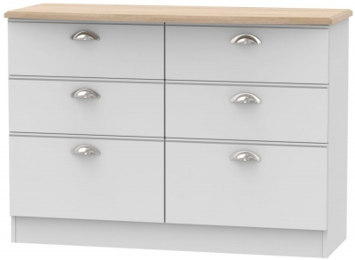 Victoria 6 Drawer Midi Chest - Grey Matt and Riviera Oak