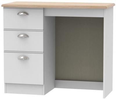 Victoria Single Pedestal Dressing Table - Grey Matt and Riviera Oak