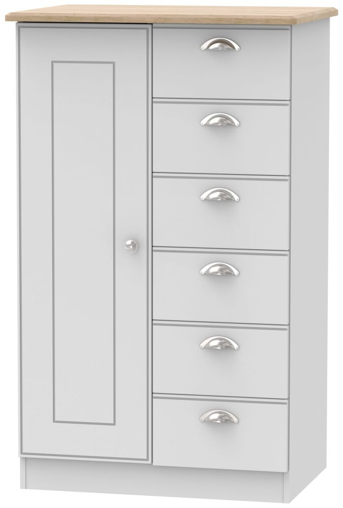 Victoria Grey Matt and Riviera Oak 1 Door 6 Drawer Childern Wardrobe