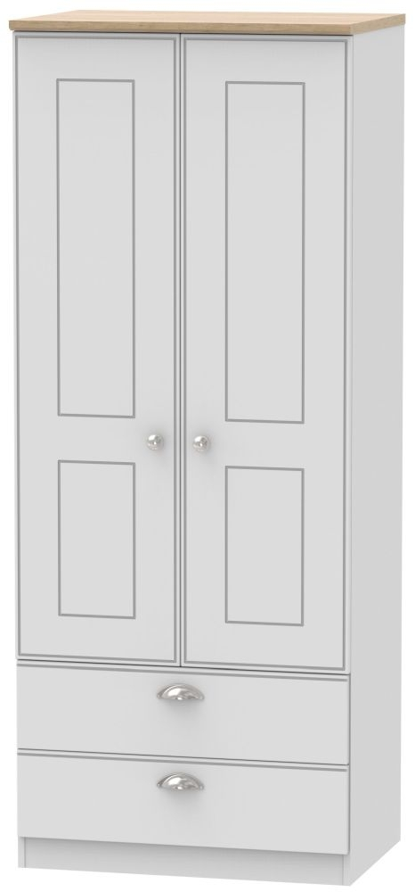 Victoria 2 Door 2 Drawer Wardrobe - Grey Matt and Riviera Oak