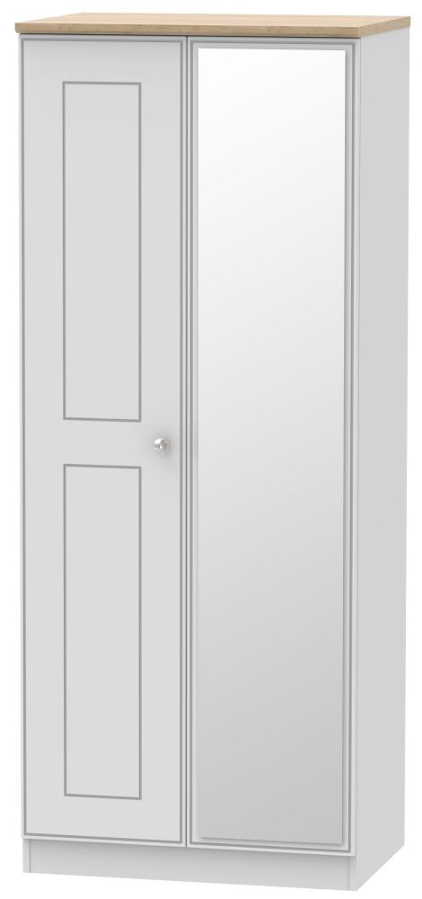 Victoria 2 Door Mirror Wardrobe - Grey Matt and Riviera Oak