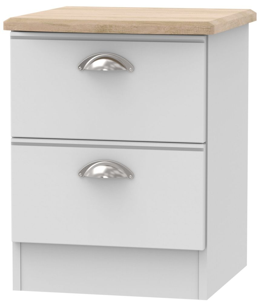 Victoria Grey Matt and Riviera Oak 2 Drawer Locker Bedside Cabinet