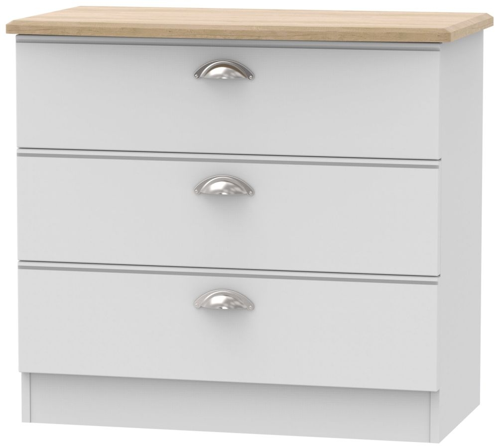 Victoria 3 Drawer Chest - Grey Matt and Riviera Oak