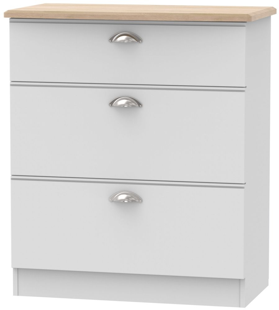 Victoria 3 Drawer Deep Chest - Grey Matt and Riviera Oak