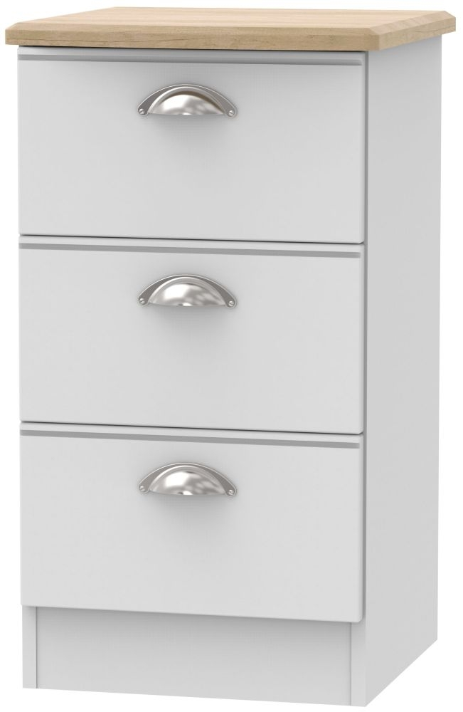 Victoria Grey Matt and Riviera Oak 3 Drawer Locker Bedside Cabinet